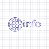 domain for information resources globe and info Hand drawn picture on paper sheet Blue ink outline sketch style Doodle on checkered background