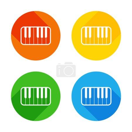 Illustration pour Icône de clavier de piano. Icône plate blanche sur fond de cercles colorés. Quatre longues ombres différentes dans chaque coins - image libre de droit