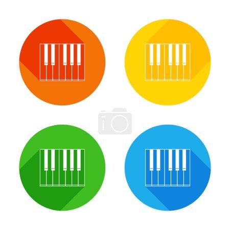 Illustration pour Icône de piano simple. Icône plate blanche sur fond de cercles colorés. Quatre longues ombres différentes dans chaque coins - image libre de droit