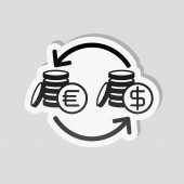 change money icon Sticker style with white border and simple shadow on gray background