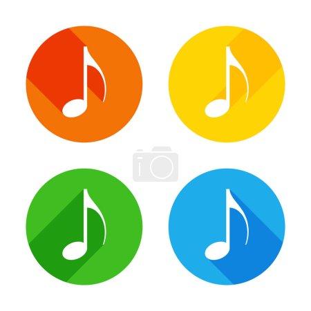 Illustration pour Icône de note de musique. Icône plate blanche sur fond de cercles colorés. Quatre longues ombres différentes dans chaque coins - image libre de droit