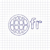 domain of France globe and fr Hand drawn picture on paper sheet Blue ink outline sketch style Doodle on checkered background