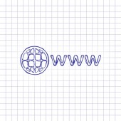 symbol of internet with globe and www Hand drawn picture on paper sheet Blue ink outline sketch style Doodle on checkered background