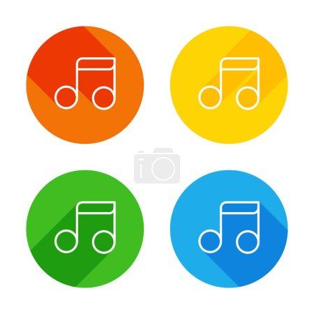 Illustration pour Note de musique simple. Icône de linéaire, mince contour. Icône plate blanche sur fond de cercles colorés. Quatre longues ombres différentes dans chaque coins - image libre de droit
