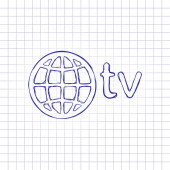 domain for media and television globe and tv Hand drawn picture on paper sheet Blue ink outline sketch style Doodle on checkered background