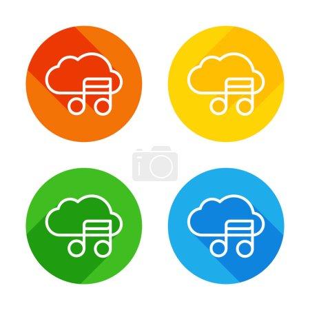 Illustration pour Icône simple avec nuage et note de musique. Symbole linéaire, mince contour. Icône plate blanche sur fond de cercles colorés. Quatre longues ombres différentes dans chaque coins - image libre de droit