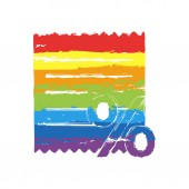 Receipt and percent Drawing sign with LGBT style seven colors of rainbow (red orange yellow green blue indigo violet