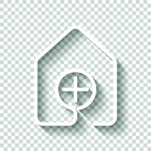 house with medical cross icon line style White icon with shadow on transparent background
