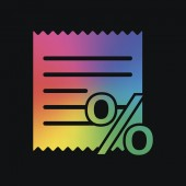 Receipt and percent Rainbow color and dark background