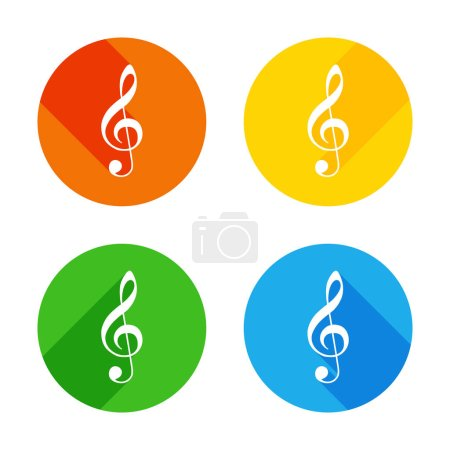 Illustration pour Icône simple de treble clef. Icône plate blanche sur fond de cercles colorés. Quatre longues ombres différentes dans chaque coins - image libre de droit
