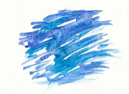 Foto de Etiqueta de trazos de pincel azul acuarela dibujada a mano - Imagen libre de derechos