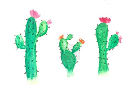 Photo for Watercolor cactus flower, hand drawn cactus - Royalty Free Image