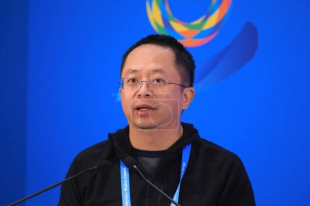 Zhou Hongyi, co-founder, Chairman and CEO of Qihoo 360, speaks at the launching ceremony for the China Digital Economy Investment and Financing Alliance during the 5th World Internet Conference (WIC), also known as Wuzhen Summit, in Wuzhen town, Tong