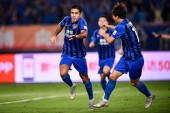 Italian-Brazilian football player Eder Citadin Martins of Jiangsu Suning celebrates after scoring a goal against Guangzhou Evergrande Taobao in their 23rd round match during the 2018 Chinese Football Association Super League (CSL) in Nanjing city, ea
