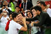 Harry Maguire of England celebrates with his families and friends after defeating Columbia in their Round of 16 match during the 2018 FIFA World Cup in Moscow, Russia, 3 July 2018.