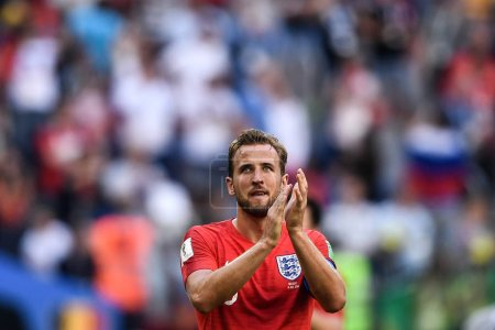 Harry Kane of England reacts