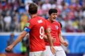 Harry Maguire of England, back, reacts in their third place match against Belgium during the 2018 FIFA World Cup in Saint Petersburg, Russia, 14 July 2018.