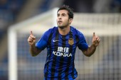 Italian-Brazilian football player Eder Citadin Martins of Jiangsu Suning celebrates after scoring a goal against TianjinTEDA in their 19th round match during the 2018 Chinese Football Association Super League (CSL) in Tianjin, China, 18 August 2018