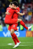 John Stones and Harry Maguire of England celebrate after defeating Columbia in their Round of 16 match during the 2018 FIFA World Cup in Moscow, Russia, 3 July 2018