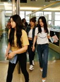 (From left) Yeri, Wendy, and Irene of South Korean girl group Red Velvet arrive at the Taoyuan International Airport in Taipei, Taiwan, 6 July 2018.