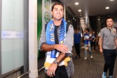 Italian-Brazilian football player Eder is pictured after arriving at the Nanjing Lukou International Airport in Nanjing city, east China's Jiangsu province, 16 July 2018.