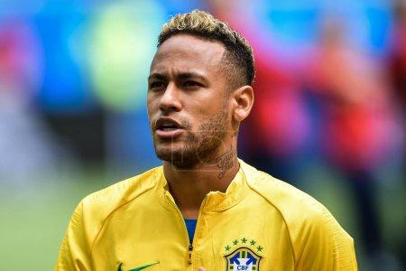 Neymar of Brazil sings the