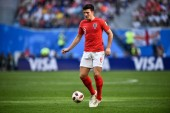 Harry Maguire of England dribbles against Belgium in their third place match during the 2018 FIFA World Cup in Saint Petersburg, Russia, 14 July 2018.