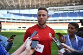 Chris Gunter of Wales national football team is interviewed in a training session before the semi-final match against China during the 2018 Gree China Cup International Football Championship in Nanning city, south China's Guangxi Zhuang Autonomous Re
