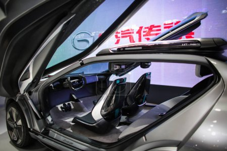 Photo for A Trumpchi Enverge electric concept car of GAC Group is on display during the 15th Beijing International Automotive Exhibition, also known as Auto China 2018, in Beijing, China, 25 April 2018 - Royalty Free Image