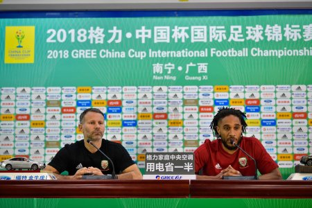Photo for Ashley Williams, right, and head coach Ryan Giggs of Wales national football team attend a press conference before the semi-final match against China during the 2018 Gree China Cup International Football Championship in Nanning city, south China's Gu - Royalty Free Image