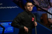Ronnie O'Sullivan of England considers a shot to Stephen Maguire of Scotland in their first round match during the 2018 Betfred World Snooker Championship at the Crucible Theatre in Sheffield, UK, 21 April 2018.