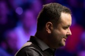 Stephen Maguire of Scotland considers a shot to Ronnie O'Sullivan of England in their semi-final match during the 2017 Betway UK Championship snooker tournament in York, UK, 9 December 2017