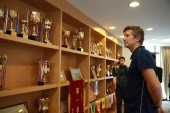 Former Dutch football play Edwin van der Sar, CEO of Amsterdamsche Football Club Ajax (AFC Ajax), attends the cooperation signing ceremony of R&F football club and AFC Ajax in Meizhou city, south China's Guangdong province, 27 November 2017
