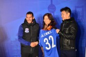 Argentine football player Carlos Tevez of Shanghai Greenland Shenhua F.C., left, attends a ceremony for Shanghai Greenland Shenhua F.C. to prepare for 2017 Chinese Super League in Shanghai, China, 28 February 2017.