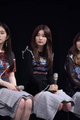 Seulgi of South Korean girl group Red Velvet, center, attends a fan meeting in Taipei, Taiwan, 16 August 2017.