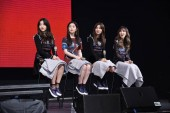 (from left to right) Yeri, Irene, Seulgi, Wendy of South Korean girl group Red Velvet attend a fan meeting in Taipei, Taiwan, 16 August 2017.