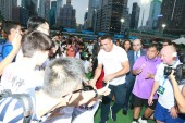 Brazilian football star Ronaldo Luis Nazario de Lima, center, commonly known as Ronaldo, attends a charity event in Hong Kong, China, 26 May 2017.