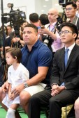 Brazilian football star Ronaldo Luis Nazario de Lima, left, commonly known as Ronaldo, attends the Real Madrid Foundation Clinic in Hong Kong & Southern China Project Presentation Press Conference in Hong Kong, China, 27 May 2017.