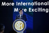Indonesian businessman Erick Thohir, president and majority owner of Italian football team Inter Milan, delivers a speech at the press conference to announce that Suning bought a majority stake in Inter Milan in Nanjing city, east China's Jiangsu pro