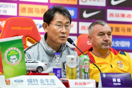 Photo for Head coach Yoon Deok-yeo of South Korea women's national football team attends a press conference for the CFA Team China International Women's Football Tournament Meizhou Wuhua 2019 in Meizhou city, south China's Guangdong province, 16 January 2018 - Royalty Free Image
