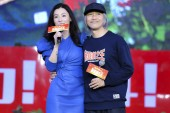 Hong Kong-Australian actress and cantopop singer Cecilia Cheung, left, and Chinese film director and actor Stephen Chow attend a press conference for new movie