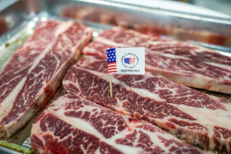 Photo for Beef imported from the United States is for sale at a supermarket in Shanghai, China, 13 November 2018 - Royalty Free Image