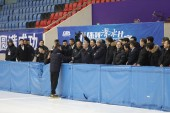 Thomas Bach, center, President of the International Olympic Committee (IOC), visits the ice training center ahead of the Beijing 2022 Winter Olympics in Harbin city, northeast China's Heilongjiang province, 27 January 2019.