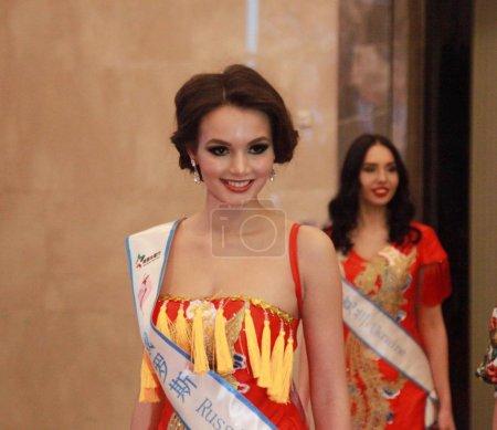 Photo pour Miss Russie participe à la 53e Miss toutes les Nations World concours Final dans la ville de Nanjing, province de Jiangsu du Nord-est de la Chine, 29 janvier 2019 - image libre de droit