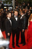 US actors Leonardo DiCaprio, second left, and Tobey Maguire, left, pose on the red carpet as they arrive for the opening ceremony of the 66th Cannes International Film Festival and the premiere of the movie, The Great Gatsby, in Cannes, France, 15 Ma
