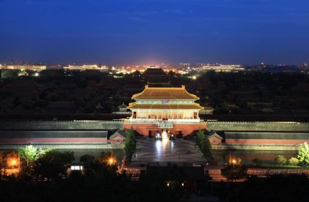 Photo for Night view of the Palace Museum, also known as the Forbidden City, in Beijing, China, 2 July 2013 - Royalty Free Image