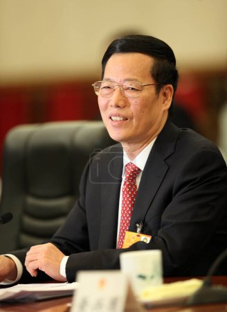 Zhang Gaoli, the party secretary of Tianjin, speaks during a panel discussion of delegations from Tianjin open to journalists during the Fifth Session of the 11th National Peoples Congress (NPC) in Beijing, China, 10 March 2012