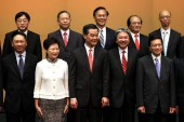 (From left, first row) Secretary of Justice Rimsky Yuen,  Chief Secretary for Administration Lam Cheng Yuet, Chief Executive of Hong Kong Leung Chun-ying, Financial Secretary Tsang Chun-wah and other newly elected officials attend the press conferenc