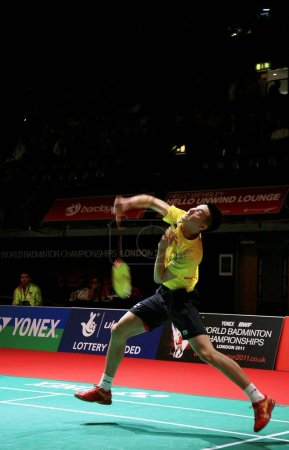 Photo for Defending champion Chen Jin competes at the World Badminton Championships in Londons Wembley Area, England, 8 August 2011 - Royalty Free Image