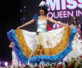 Silvana Lepesqueur of Colombia performs in the final of the Miss Tourism Queen International 2011 in XiAn city, northwest Chinas Shaanxi province, 27 December 2011